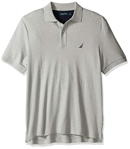 Nautica Men's Classic Fit Short Sleeve Solid Soft Cotton Polo Shirt, Grey Heather, XX-Large