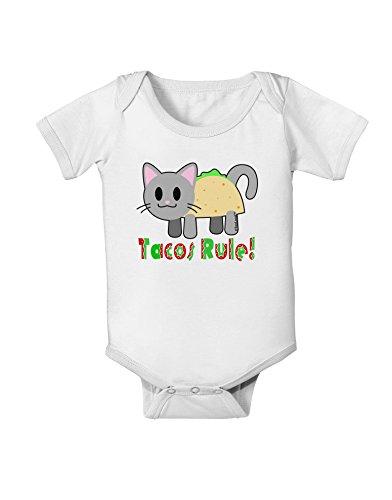 TOOLOUD Tacos Rule Taco Cat Design Baby Romper Bodysuit - White - 6 Months
