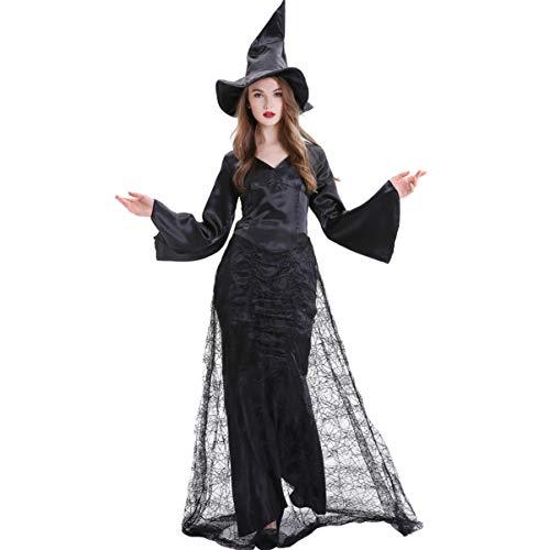 KESYOO 1 Unid Vestido de Mujer de Halloween Conjunto de Disfraces de Bruja de Tela de Araña Negra Accesorio de Baile de Vestido de Vampiro para Fiesta de Disfraces de Cosplay (Talla M