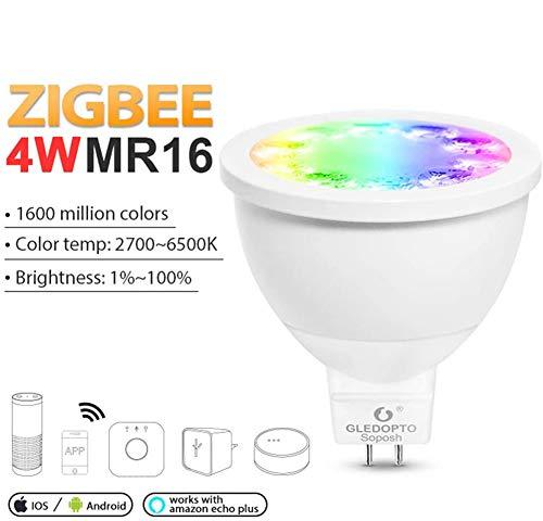 ZigBee - Bombilla LED (MR16, GU5.3, 4 W, inalámbrica, RGB, CCT, intensidad regulable), Bean Angle 30°, GU5.3