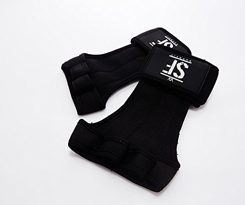 Suprfit Gymnastic WOD Grips | Gymnastik Handschuh | Turn Riemchen | Hand Schutz | Crossfit Turnen Fitness | Mit Handgelenk Schutz | Silikon Handfläche | Schwarz | XS bis XL