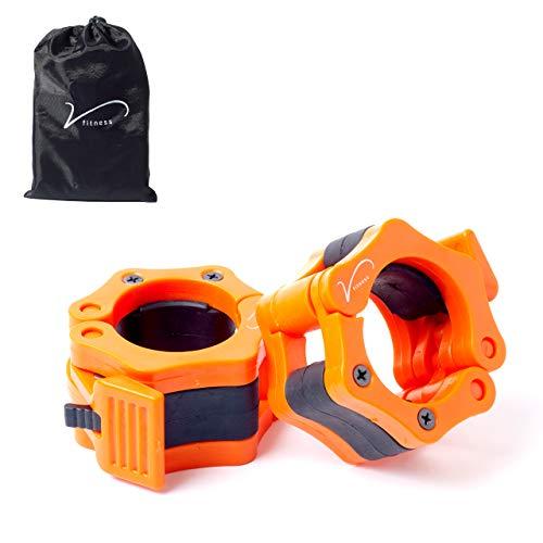 Vida Fitness Bloqueadores de Discos para Barras de Pesas. Un Par de Abrazaderas de Cierre Fácil para Barras Olímpicas de 50 mm. El Juego Incluye una Bolsa para su Transporte.