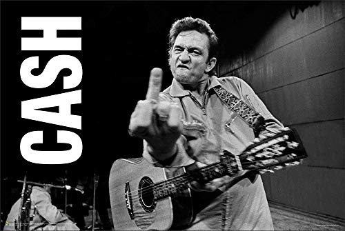 Johnny Cash Giving The Finger Classic Rock Country Music Poster Print 36x24
