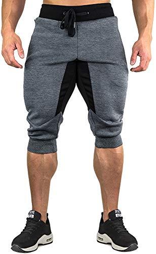 TACVASEN Jogging Shorts Herren Komfortable Baumwolle Shorts 3/4 Trainingshose Sommer Kurz Sporthose für Männer Leicht Cotton Workout Shorts Cargo Shorts Grau Grey