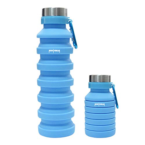 Northman Life Collapsible Water Bottle, Reuseable BPA Free Silicone Foldable Water Bottles PERFECT For Travel, Gym, Camping, Hiking, Portable Leak Proof Sports Water Bottle with Carabiner