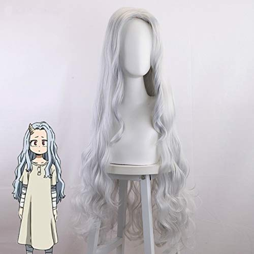 EUXHY My Hero Academia Season 4 Bad Reason Wig Gray Long Curly Hair Cosplay Wig Wave Curly Wig Hair Cover