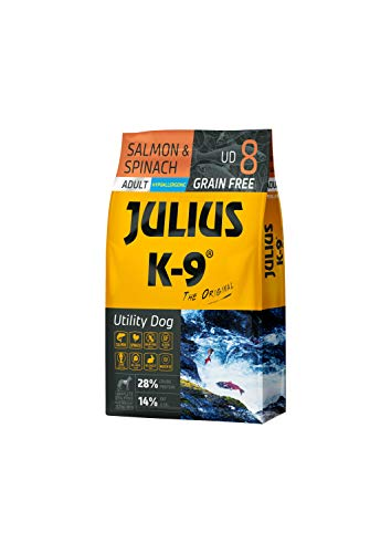 Julius K-9 Arbeitshund Erwachsenen Lachs & Spinat getreidefreies, glutenfreies Hunde-Trockenfutter, 1er Pack (1 x 10 kg)