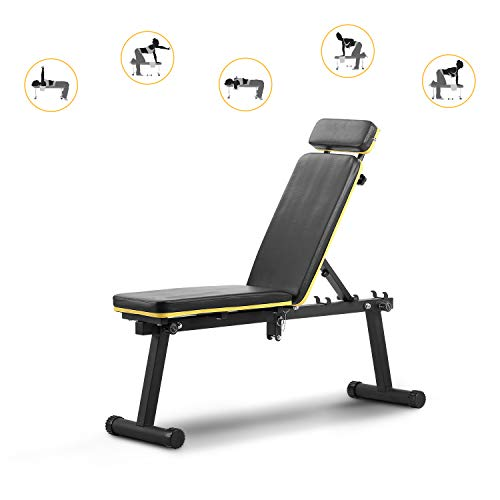 ZENOVA Weight Bench , Adjustable Workout Bench for Full Body Exercise, Utility Exercise Bench Fast Folding for Strength Training