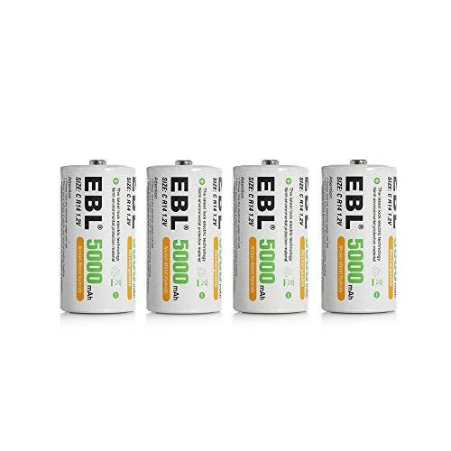 EBL 4PCS Piles C Rechargeables 5000mAh Ni-MH 1.2V,...