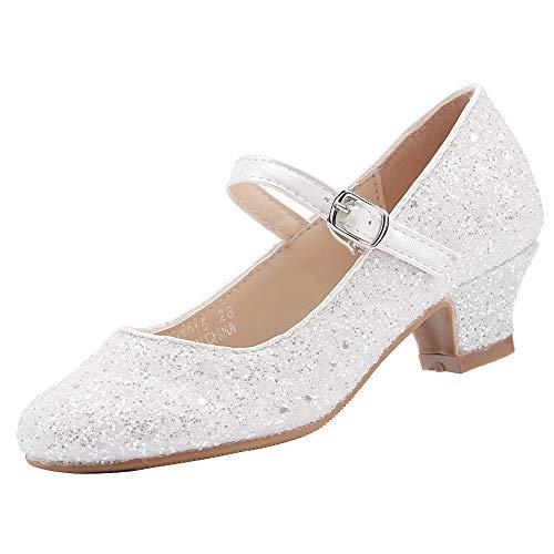 EIGHT KM Mädchen High Heel Kleid Schuhe Mary Jane Prinzessin Hochzeit Pumps Schuhe EKM7015 Sparkle Glitter Cinderella Weiß Größe EU 27