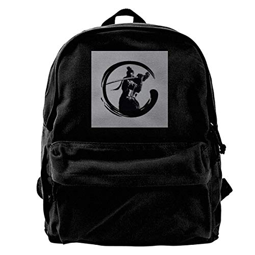 zhanghaichangT Canvas Mochila Sekiro Shadows Die Twice Shenobi Enso Dark Rucksack Gym Hiking Laptop Shoulder Bag Daypack for Men Women