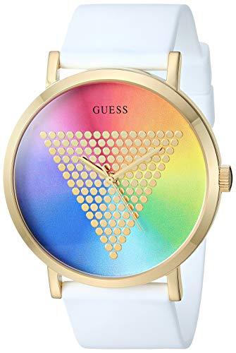 GUESS Reloj de Cuarzo de Acero Inoxidable con Correa de Silicona, Color Blanco, 44 (Modelo: U1161G5