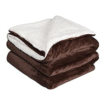 NEWSHONE Sherpa Throw Blanket, Reversible Fuzzy Plush Blankets for Bed or Couch(50x 60 inches, Brown)
