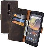 Suncase Book-Style kompatibel für Nokia 6.1 | Nokia 6 (2018) Hülle Leder Tasche Handytasche Schutzhülle Hülle (mit Standfunktion & Kartenfach - Bruchfester Innenschale) Hülle in antik braun
