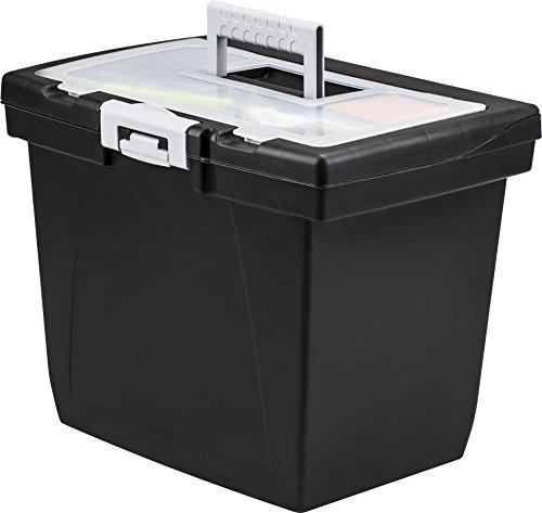 Storex Portable, Lid, Built-in Rail, Lockable, Nesting File Box (STX61522B04C)