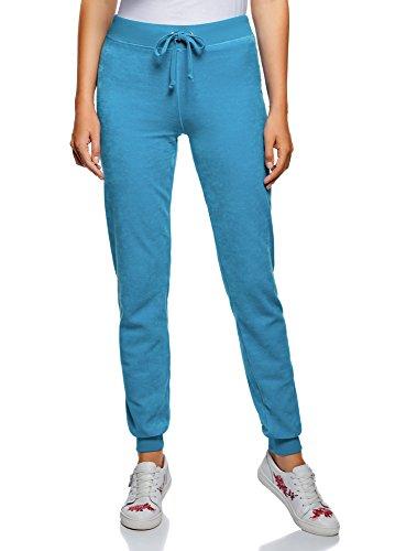 oodji Ultra Mujer Pantalones Deportivos con Cordones, Azul, ES 36 / XS