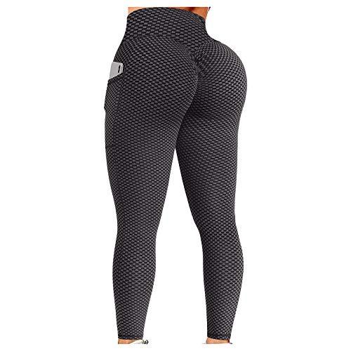 Damen Leggings mit Seitentaschen,Tik_Tok High Waist Bauchkontrolle Po Lift Anti-Cellulite-Kompression Yogahosen Figurformende Lange Sport Leggings, für Laufen, Fitness, Training