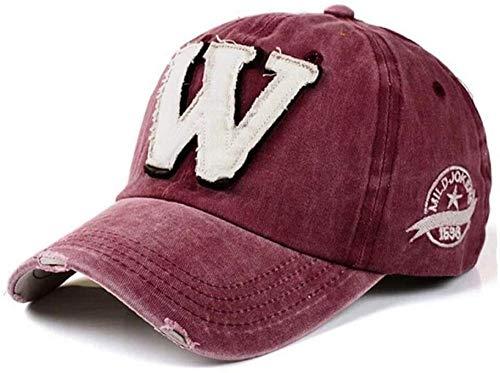 ZYZYY Baseballmütze Hip Hop Snapback Caps Hüte Für Männer Frauen Gewaschener Knochen Buchstabe Gorras Chapeu Homme Hut-Wein Rot