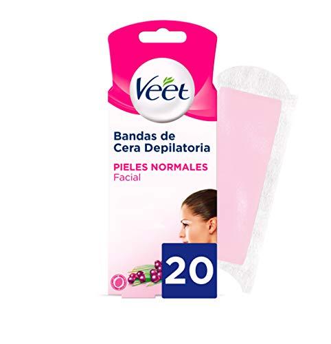 Veet Bandas de Cera Fria Depilatoria para Depilación Facial Adecuado para Labio Superior (Bigote), Easy Gelwax, Pieles Normales, 20 Tiras