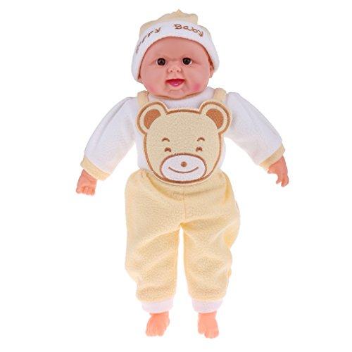 52cm Lebensechte Vinyl Funktions Baby Puppe, Neugeborenes Junge Babypuppe mit Bekleidung - Gelb
