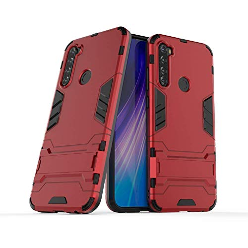 Case for Xiaomi Redmi Note 8 DWaybox 2 in 1 Hybrid Armor Hard Back Case Cover with Kickstand Compatible with Xiaomi Redmi Note 8 6.3 Inch (Marsala Red)