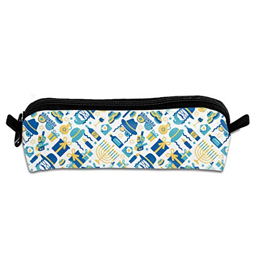 Cantesliki Kids Zippered Pencil Case Jewish Holiday Hanukkah Students Pens Markers Holder for School and Travel