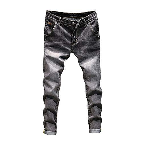 MäNner Herren Casual Herbst Denim Baumwolle Vintage Wash Hip Hop Arbeit Hosen Jeans Slim Biker Zipper Skinny Ausgefranste Hose Style Jogginghosen Lose Jogger Jeanshose Straight(Grau,32)