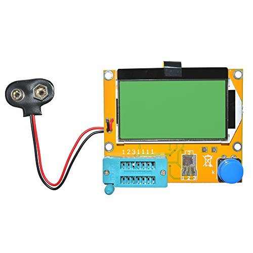 diymore Multifunction LCR-T4 Mega328 Transistor Tester Diode Triode Capacitance ESR Meter MOS PNP/NPN M328 with Capacitor ESR Testing Function Green Backlight LCD Display