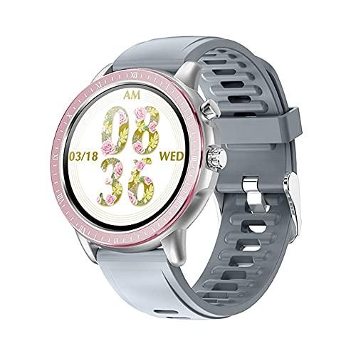 2021 Moda Smart Watch Mujeres Full Touch Impermeable Modo Multi-Sports Mode Pedómetro Tasa del corazón SmartWatch Aptitud Pulsera para Señora (Color : Silicon Grey)