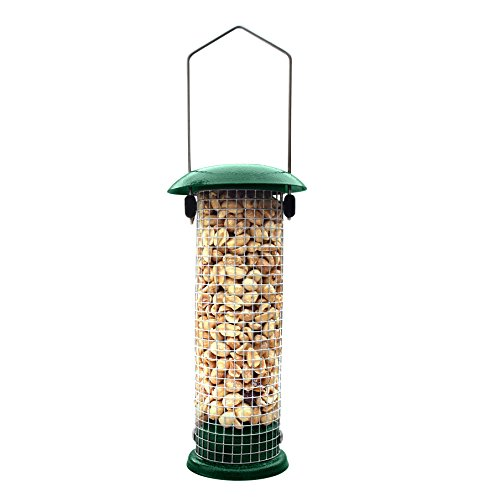 """Gray Bunny Premium Steel Sunflower Seed and Peanut Feeder, 9.5"""" Tall, Wild Bird Feeder for Woodpeckers, Titmice, Nuthatches, Chickadees, Jays and More"""