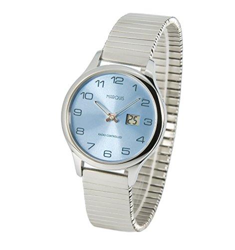 Marquis Damen Funkuhr Zugband (Junghans-Uhrwerk) Gehäuse und Armband aus Edelstahl 964.4905