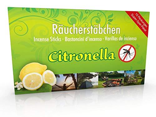 10 Packungen Citronella Anti Mücken Räucherstäbchen, Brenndauer ca. 60h (gesamt). XL Vorrat als Alternative zur Citronella Kerze oder Teelichter für draußen/im Garten