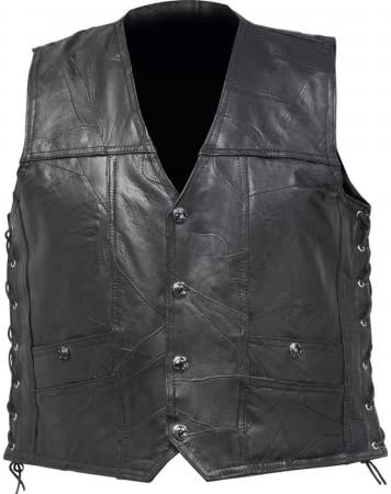 Buffalo Leather Concealed Carry Vest with Lace-Up Sides - Medium