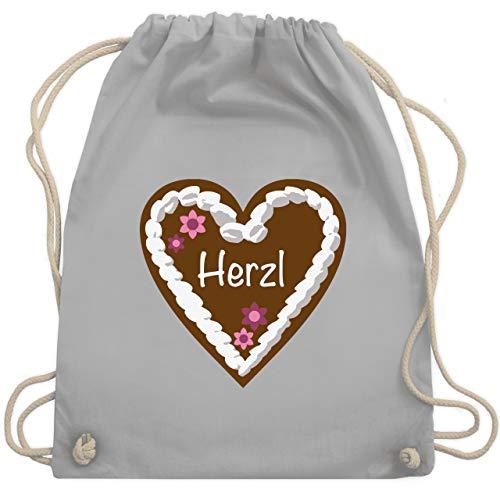 Shirtracer Oktoberfest & Wiesn Taschen - Lebkuchenherz Herzl - Unisize - Hellgrau - wiesn rucksack - WM110 - Turnbeutel und Stoffbeutel aus Baumwolle
