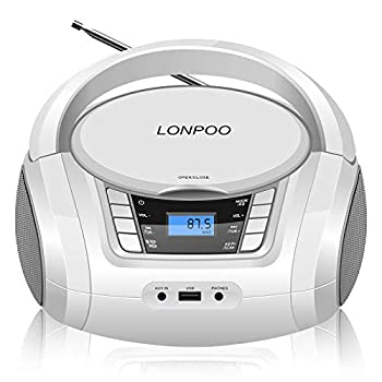 Portable Boombox with Color Lights Portable CD Player Top Loading CD Boombox with Bluetooth FM Stereo Radio Home Audio Radio with USB/Headphone Jack  White