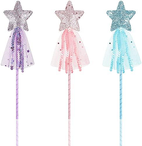 Miss-shop Varitas de Estrella,Brillantes Varita de Princesa 3 Piezas Varita de Hadas Palo de Hadas de Actuación para Niñas Fiestas, Cosplay, Disfraz de Navidad Cumpleaños