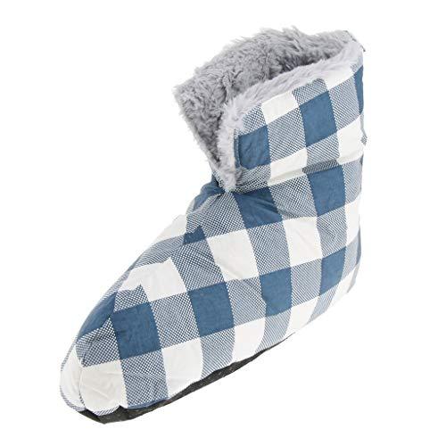 Baoblaze 1 Paar Warm Daunen Schnee Stiefel Winter Hausschuhe für Männer oder Frauen - Blau Weiß M
