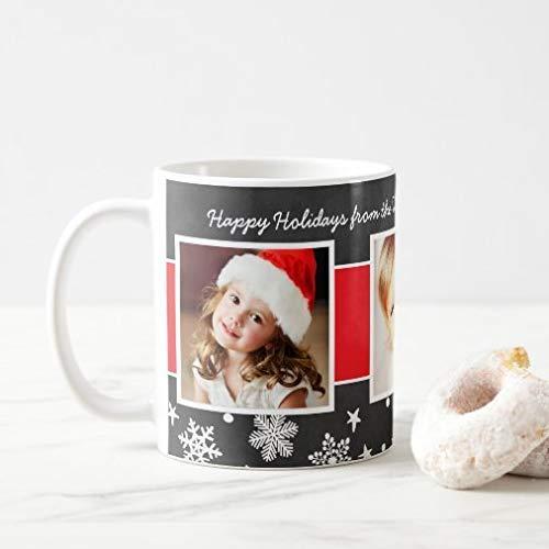 N\A Taza Divertida de café o té, Taza de café con Borde de Copo de Nieve de Pizarra de Tres Fotos de Navidad, Regalar o coleccionar, Tazas de café de 11 oz