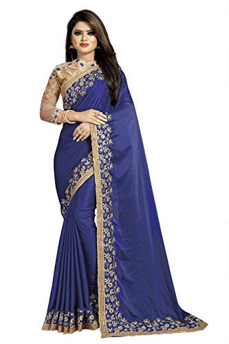 skyviewfashion Damen Partei Zu Tragen Indische Ethnische Sari Bollywood Designer Hochzeit Bestickt Saree Navy blau Freie Größe Bis zu 42 Zoll