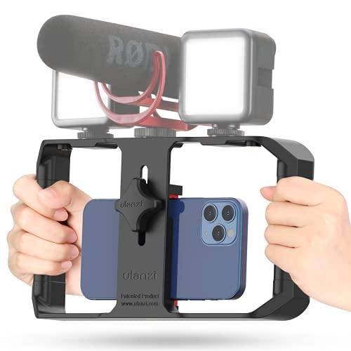 Smartphone Video Rig, ULANZI U-Rig Pro Stabilisator Smartphone, Handy Stabilisator mit 3 Cold Shoe Mounts, Handy Video Halterung für iPhone 12 Pro Max Galaxy 20 FE Huawei P30 Film YouTube Tiktok