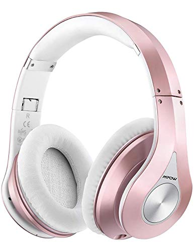 Mpow 059 Bluetooth Headphones Over Ear, Hifi Stereo Wireless Headset, Built-in Microphone, Soft Memory-Protein Earmuffs, Foldable, with Wired Mode, for Online Class, Home Office, PC, Cell Phones, TV