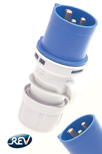 REV CEE GERÄTESTECKER 3-polig 16A 230V~ – Made in Europe ǀ CEE Stecker für Industrie Handwerk Boot Camping Caravan ǀ spritzwassergeschützt IP44 ǀ Farbe: blau