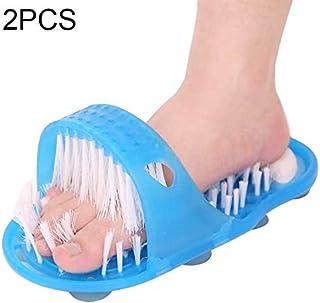 2 PCS フットブラシ 足ブラシ フットグルーマー お風呂で使える角質ケアブラシ 足の匂い消し 健康グッズ イージーフィートバスルームクリーンエクスフォリエイティングスクラブマッサージスリッパブラシ