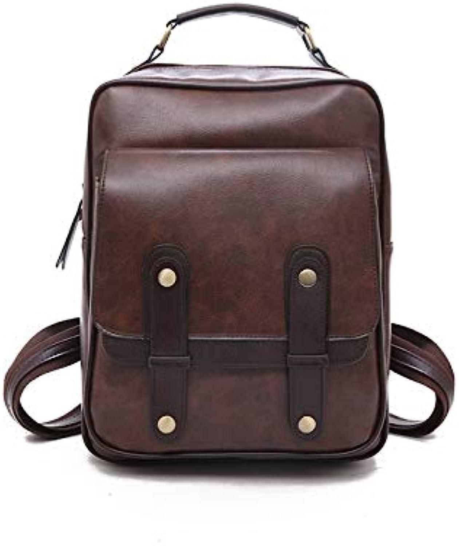 QYYDSJB Frauen Rucksack Groe Kapazitt Bookbag Marke Leder Rucksack Weibliche Einfache Schultasche Designer Umhngetaschen Für Frauen 13 Zoll Dunkelbraun
