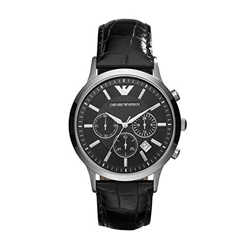 Emporio Armani Men's AR2447 Dress Black Leather Watch