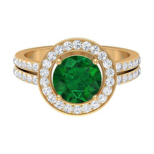 Rosec Jewels 10 quilates oro amarillo redonda Round Brilliant Green Moissanite Emerald