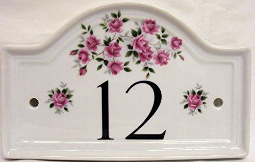 Rosalie Pink Roses Hausnummernschild aus Keramik, Motiv: Rosen, handverziert, alle Zahlen erhältlich