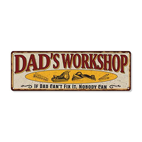 Dad's Workshop Sign Man Cave Rustic Décor Accessories Bar Beer Gift Dad Workshop Fathers Grill Gas Mechanic Men Motorcycle Plaque Pub Rod Room Rustic Mancave 6 x 18 High Gloss Metal 206180091040