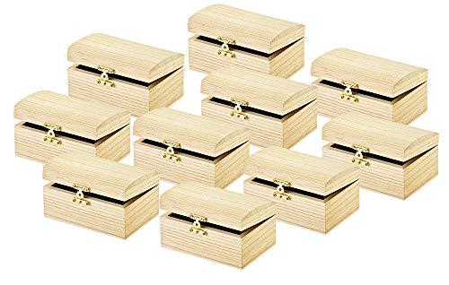VBS Schatztruhe ohne Gravur 10 Stück Truhe Kästchen Schatzkiste Holztruhe Piraten-Schatztruhe Aufbewahrungsbox Schmuckkasten Spardose Bauernkasse