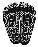 Mato & Hash 5-Toe Exercise'Barefoot Feel' Yoga Toe Socks With Full Grip 3 PK Black/Grey M/L